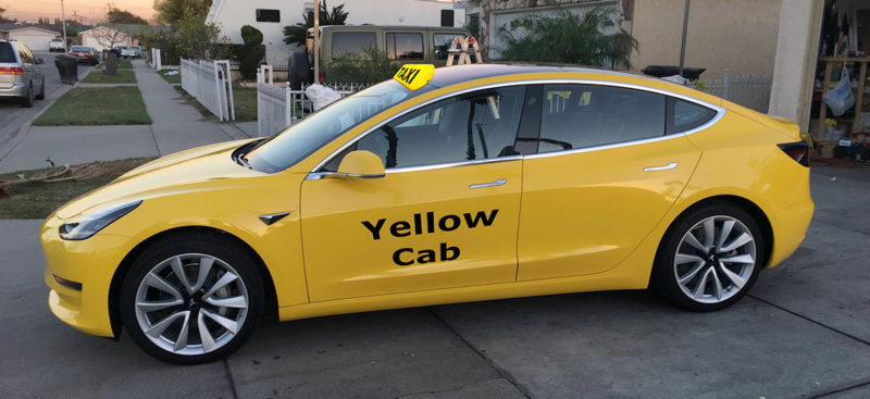 Tesla Model 3 as yello cab/taxi.