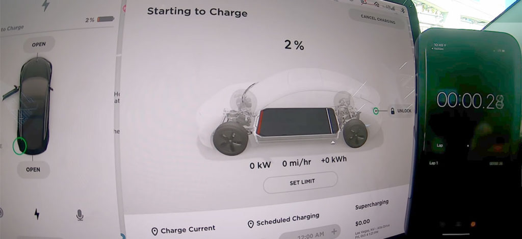 Tesla Model 3 at 2% state of charge (SoC) starting to calculate time 100% SoC on a V3 Supercharger.