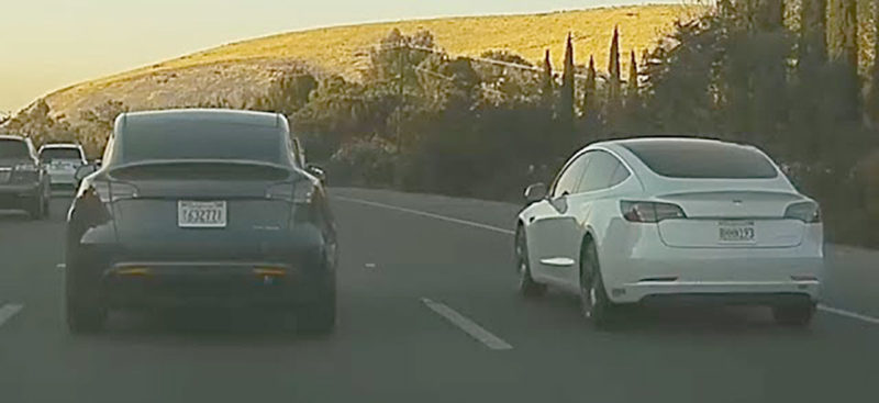 Tesla Model Y spotted on the California 101 highway.