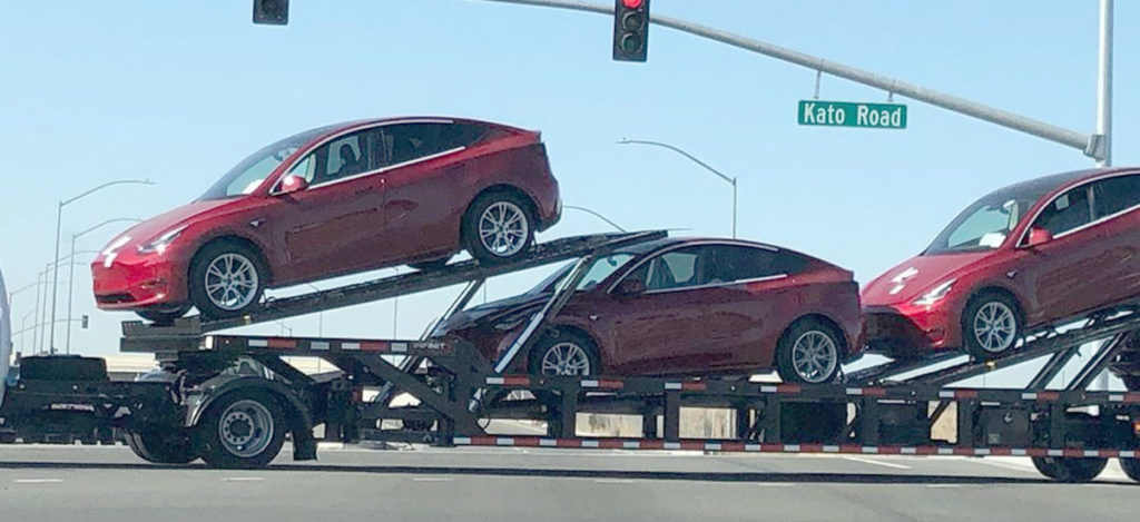 Tesla Model Y SUVs spotted outside Tesla Fremont car factory.