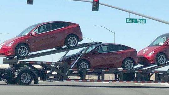 Tesla Model Y SUVs spotted outside Tesla Fremont car factory.