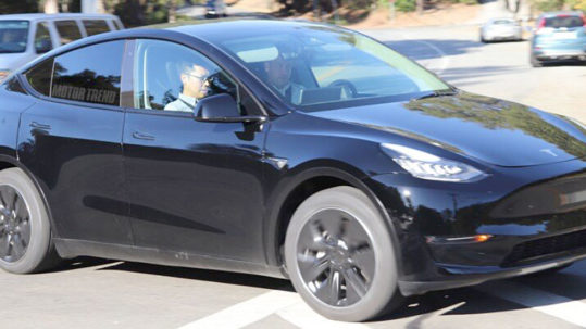 Tesla Model Y prototype in black color spy photos outside the Tesla HQ.