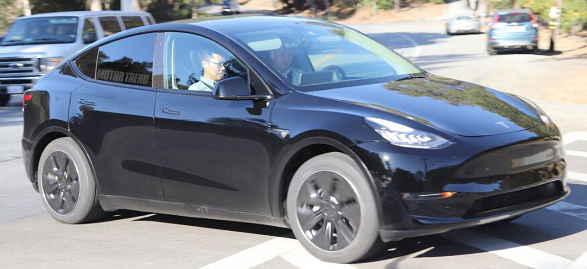 Tesla Model Y in Black — paparazzied outside the Tesla HQ in Palo Alto, CA