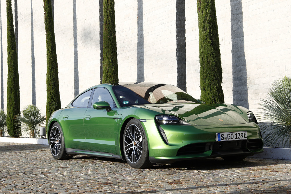 Porsche Taycan Turbo in Mamba Green Metallic - Front shot