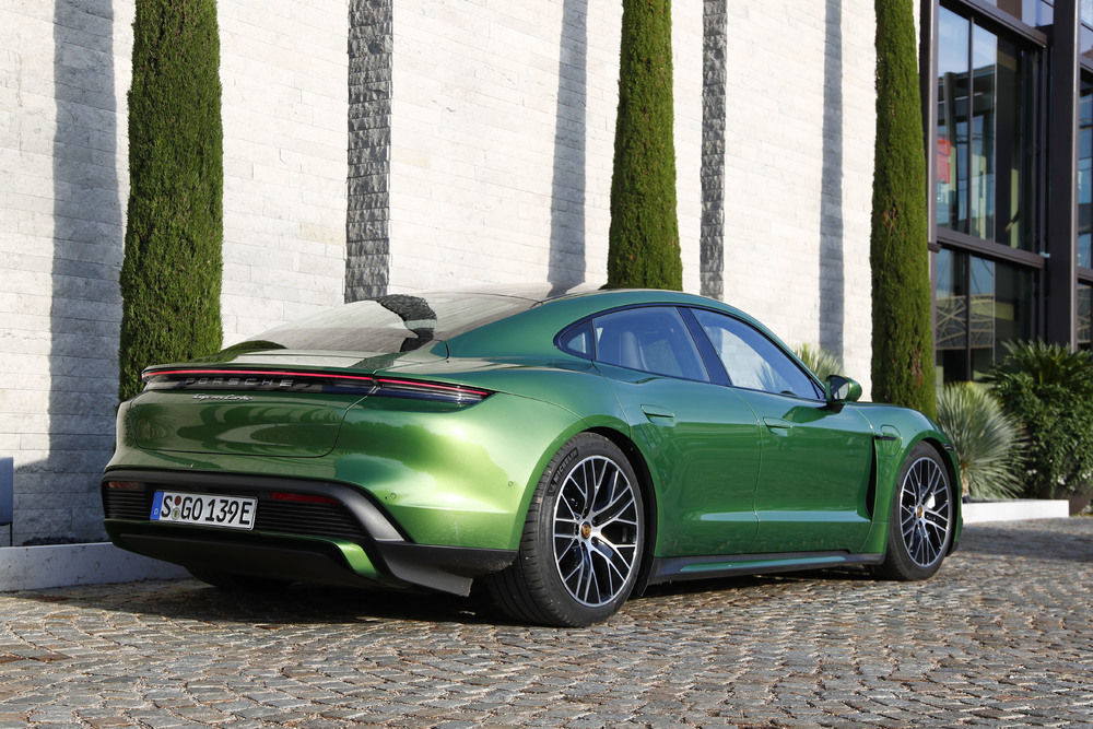 Porsche Taycan Turbo in Mamba Green Metallic - Rear shot