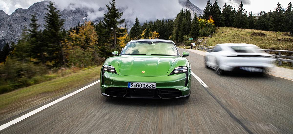 Porsche Taycan Turbo in bottle green color.