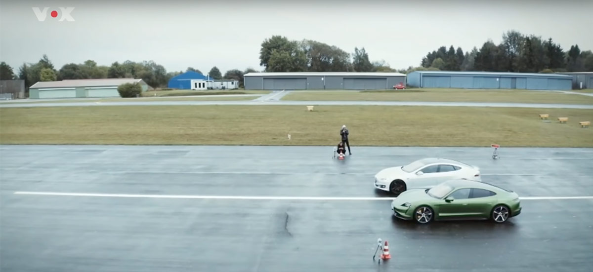 Porsche Taycan Turbo S vs. Tesla Model S P100D drag race and handling test.