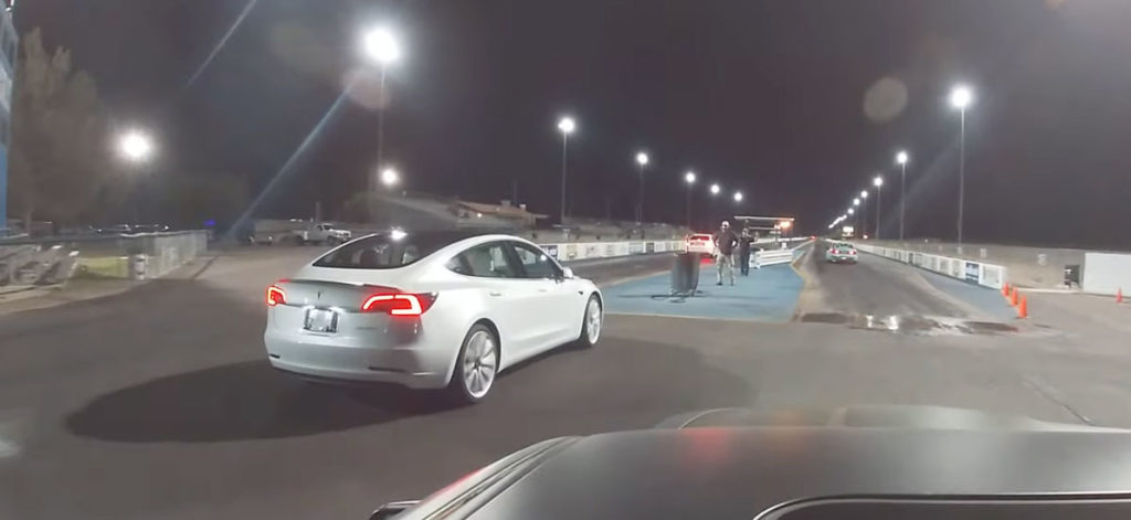 Tesla Model 3 drag races against Camaro SS, Jeep Trackhawk, Hellcat