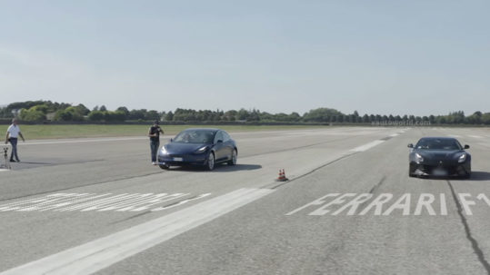 Tesla Model 3 Performance vs. Ferrari F12 Berlinetta drag race