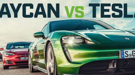 Porsche Taycan vs. Tesla Model S Drag Race by Top Gear.