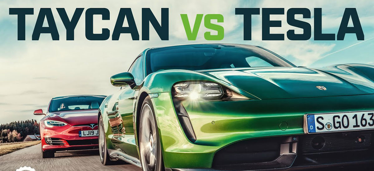 Porsche Taycan vs. Tesla Model S Drag Race by Top Gear.