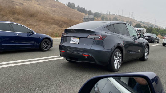 Tesla Model Y prototype spotted on a Californian highway.