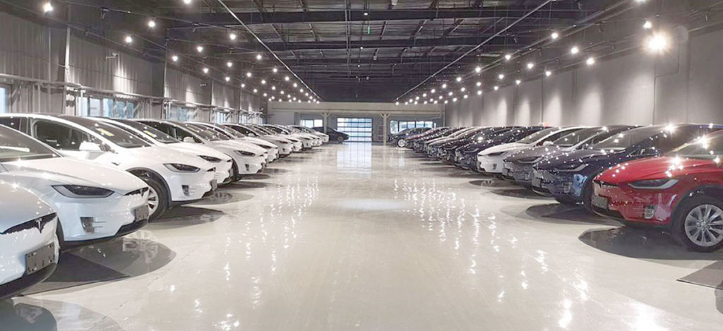 Tesla Model X fleet ready for delivery in China.