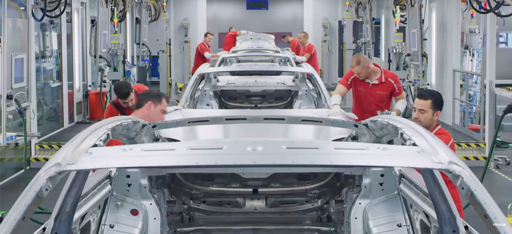 Porsche Taycan's entire production video at the Porsche factory in Zuffenhausen, Germany.