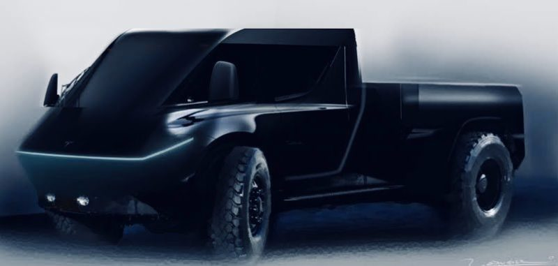 Latest Tesla Cybertruck (CYBRTRK) fan rendering using existing info and initial light-slit teaser.