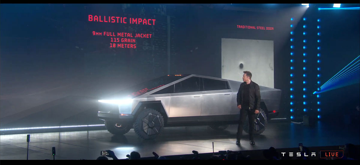 Elon Musk unveiling the Tesla Cybertruck that is built tough for real!