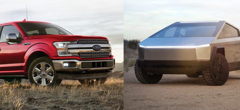 Tesla Cybertruck vs. Ford F-150 tug-of-war.