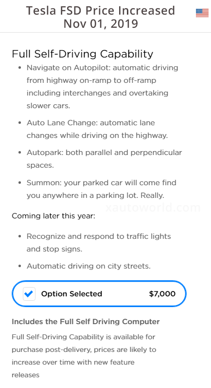 Tesla Full Self-Driving software price increased by $1,000 today.