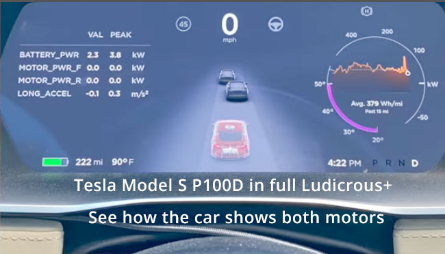 Tesla Model S P100D, car illustration turns transparent to show the drive units.