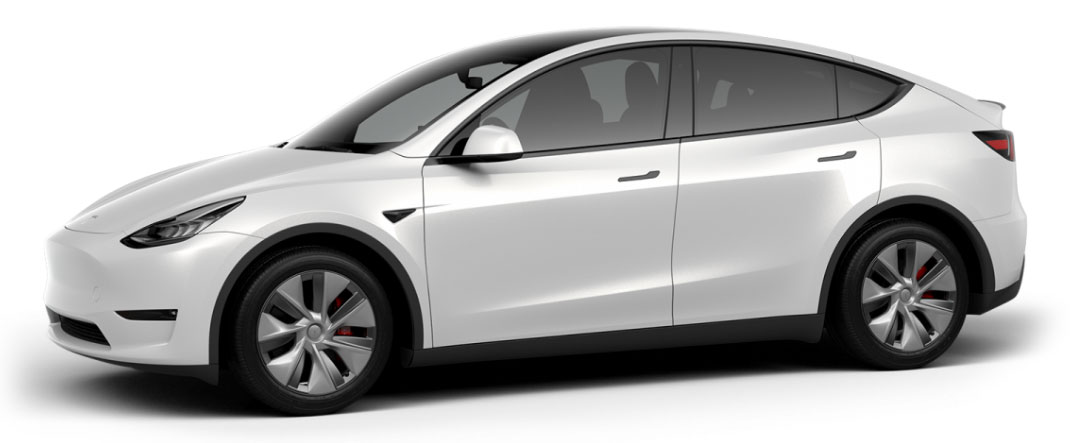 Tesla Model Y with high performance aero wheels, offered in China, seen in the United States with prototype testing.