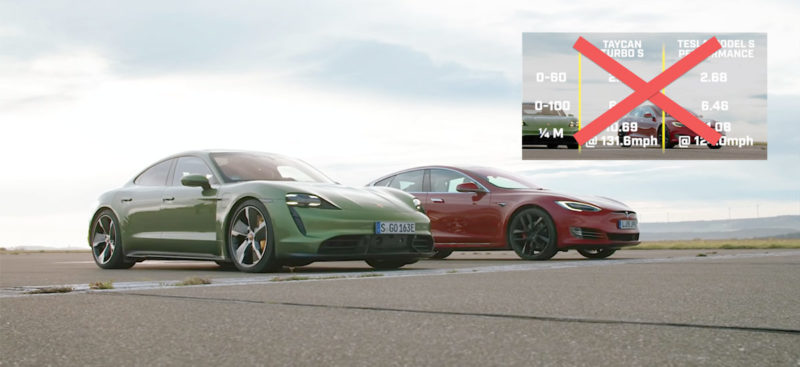 Top Gear caught red-handed downplaying Tesla Model S vs. Porsche Taycan drag race results.