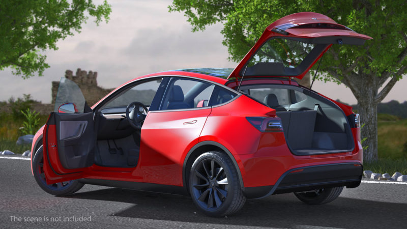 Tesla Model Y render in red color - rear shot, trunk lid open.