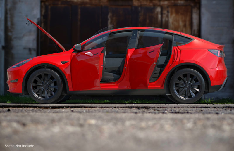 Tesla Model Y render in red color - side profile view, doors open.