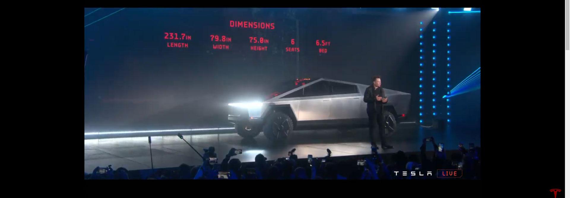 Tesla Cybertruck unveiling, Elon Musk revealing the truck's dimensions.