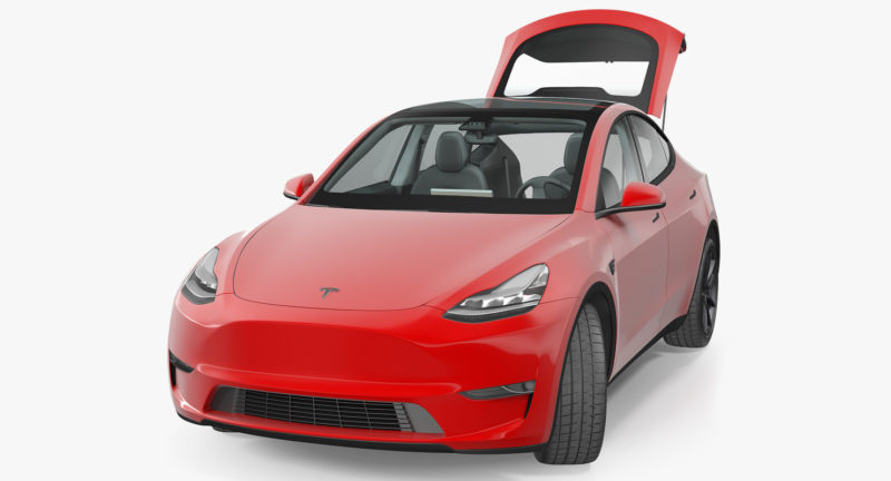 Tesla Model Y render in red color - front view, hatch trunk open.