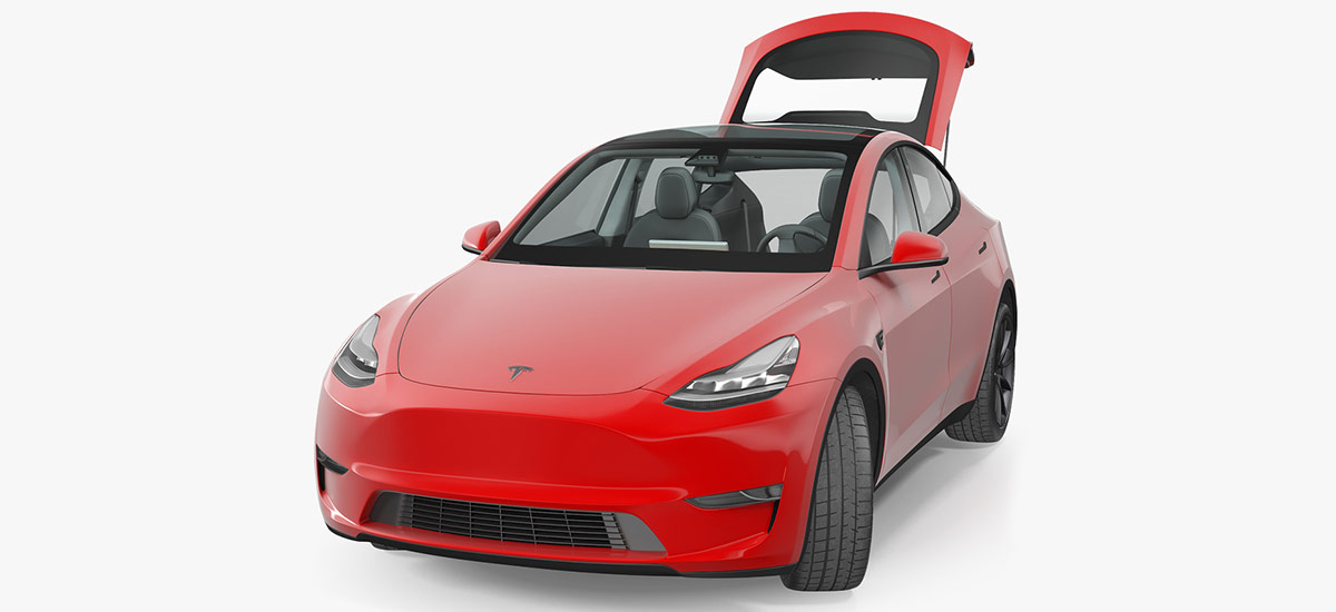 Tesla Model Y render in red color, hatchback's trunk lid open.