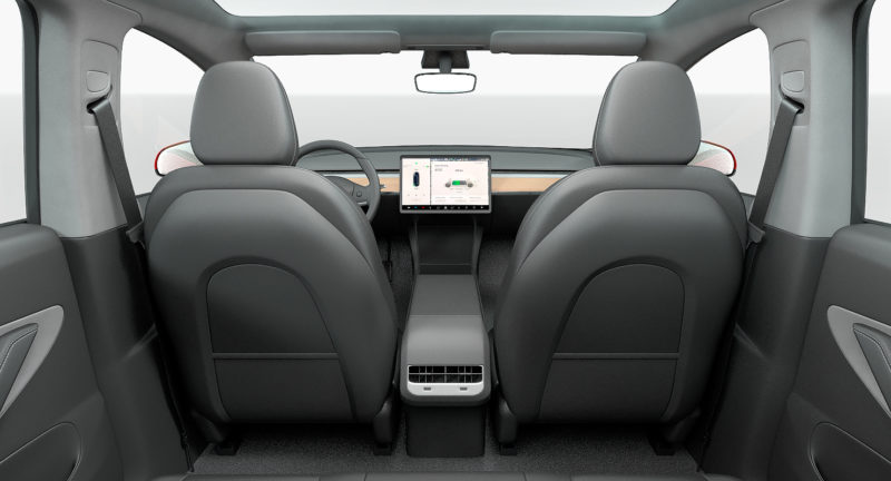 Tesla Model Y render in red color - Interior view from the trunk.