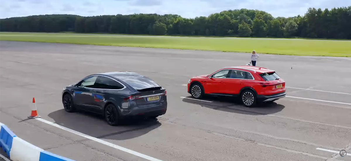 Tesla Model X takes on Audi e-tron in a drag race.