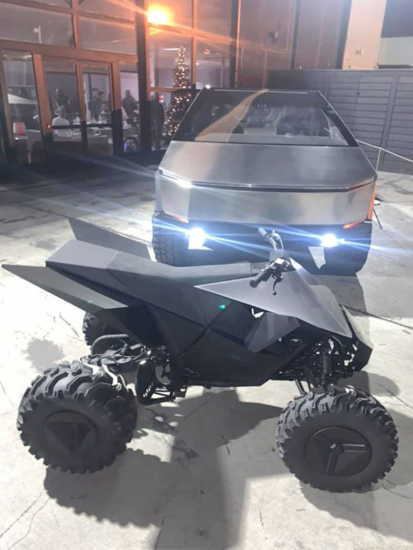 Tesla Cybertruck and Cyberquad ATV at the 2019 Tesla holiday party.
