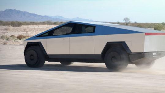 Tesla Cybertruck off roading.