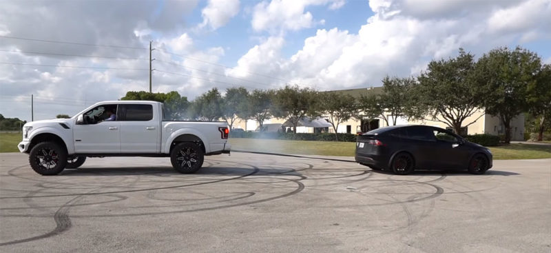 F-150 owner challenges the Model X P100D for a tug-of-war challenge and loses, says will buy the Cybertruck.
