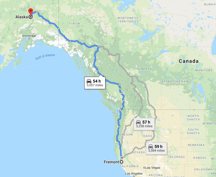 From Fremont, California to Alaska by road distance (source: Google Maps).