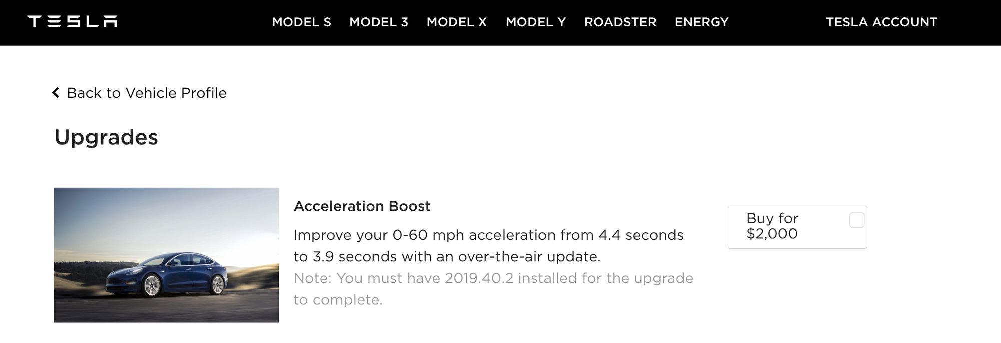 Tesla Model 3 AWD 'acceleration boost' option for $2,000.
