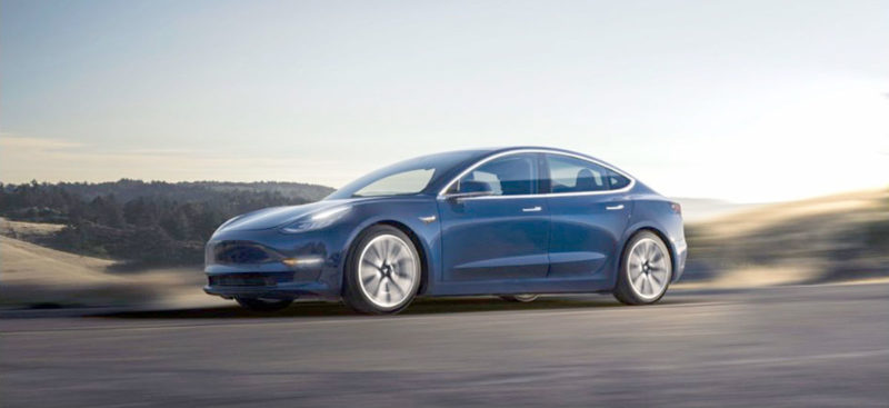 Tesla Model 3 accelerating.