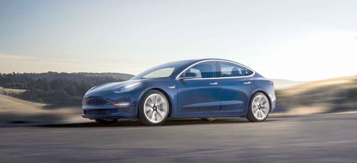 Tesla Model 3 accelerating.