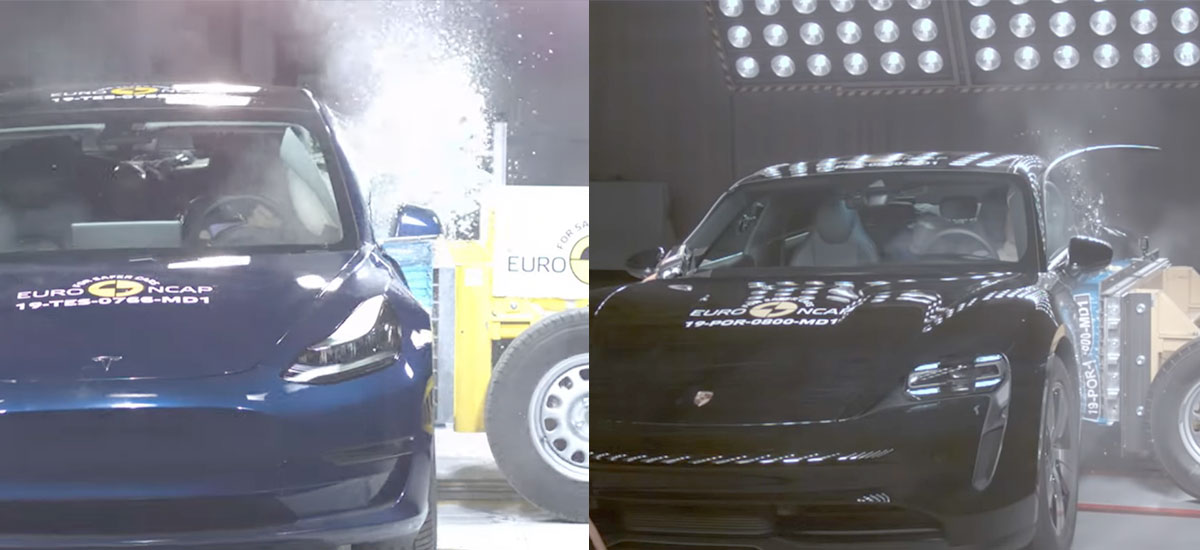 Tesla Model 3 wins over Porsche Taycan in Euro NCAP safety tests in every category.