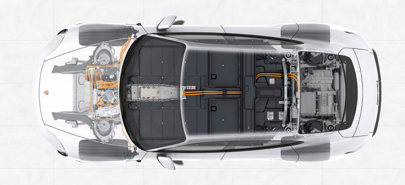 Porsche Taycan: Electric Powertrain (Battery pack floor and drive units).