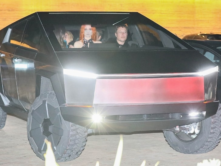 Elon Musk riding the Tesla Cybertruck with friends to Nobu.
