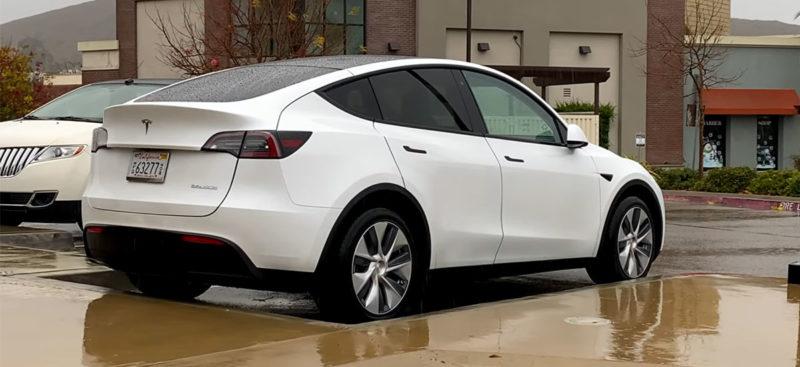 White Tesla Model Y Performance spotted in San Luis Obispo, California.