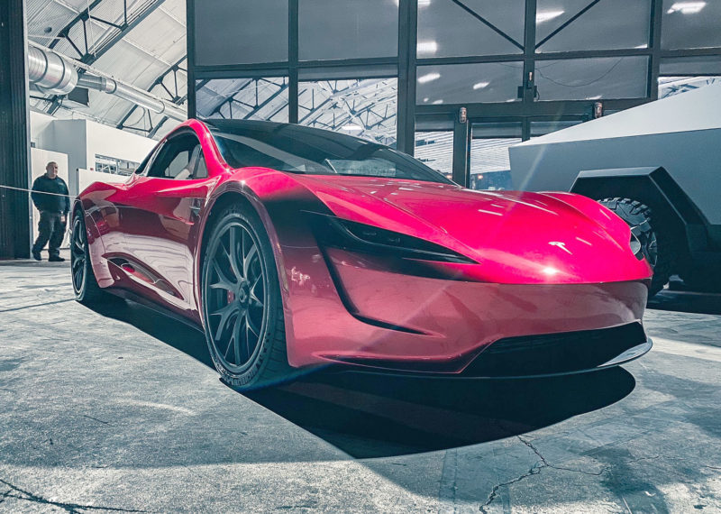 Tesla Cybertruck and Next-gen Roadster at the 2019 Tesla holiday party.