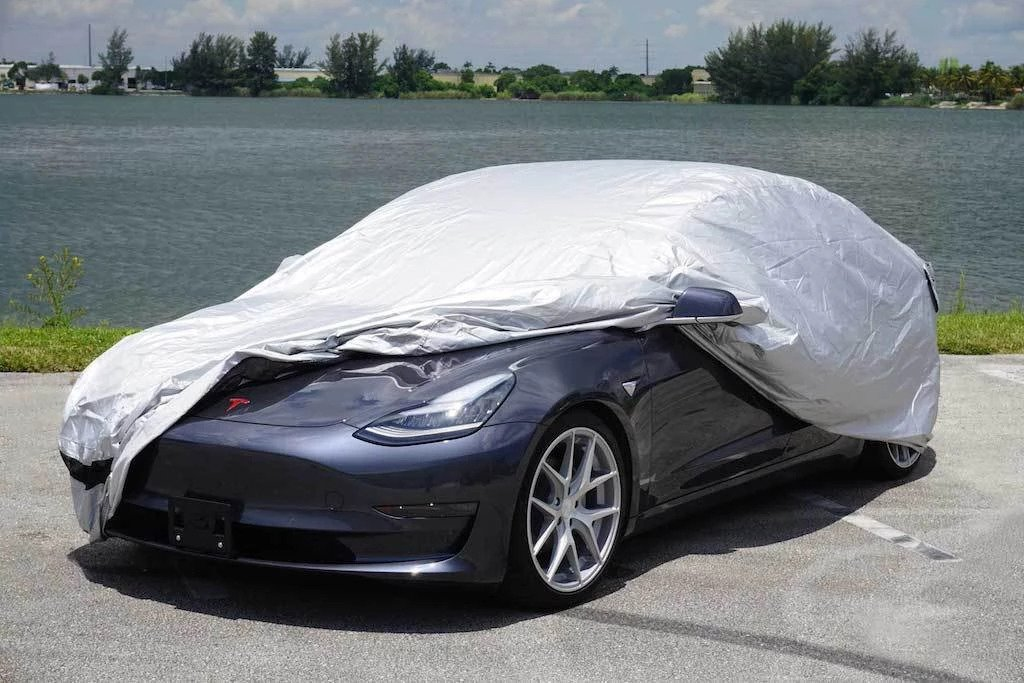 Above: Car Cover for the Tesla Model 3 (Image: EVANNEX)