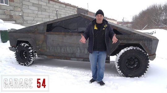 Tesla Cybertruck's Russian knock-off in the snow.