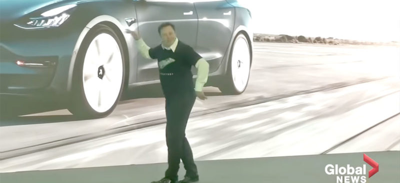 Elon Musk dancing at the Gigafactory 3 China's Model 3 delivery ceremony.