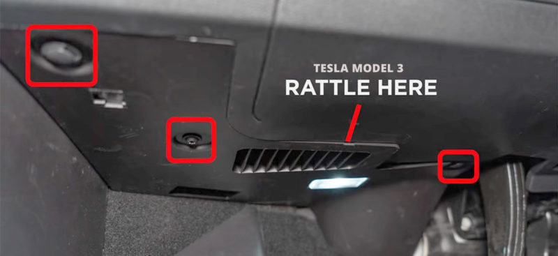 Fix various Tesla Model 3 rattle issues.