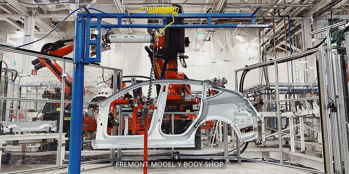 Model Y compact electric SUV body shop at the Tesla Fremont car factory. Production started in Jan 2020, deliveries expected Mar 2020 as per Q4' 2019 Earnings Call.