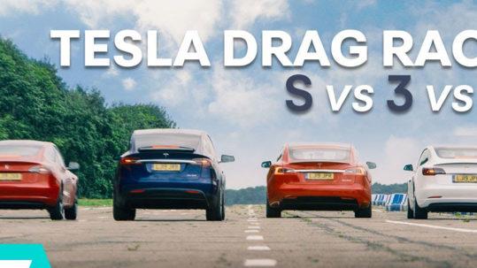 Tesla Model 3 Performance vs. Model S P100D vs. Model X vs. Model 3 Standard Range Plus drag race.